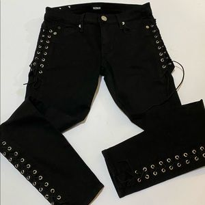 Hudson Suki Super Skinny Mid Rise Lace-up Jeans